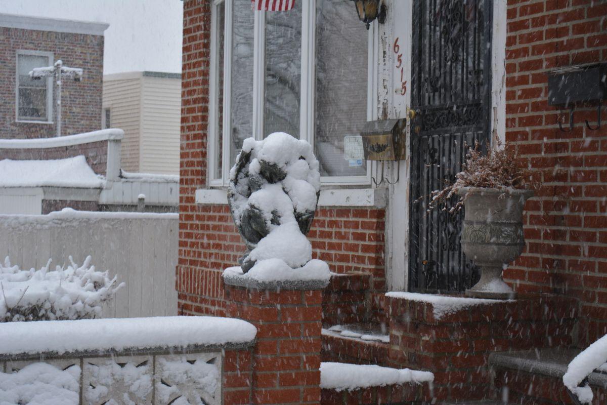A snowy gargoyle