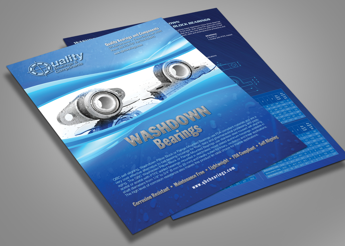 Washdown Bearings Flier Front and Back